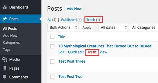 Tìm bài viết trong mục Trash (thùng rác) wordpress