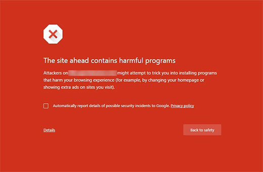Lỗi wordpress: This Site Ahead Contains Harmful Programs, website độc hại
