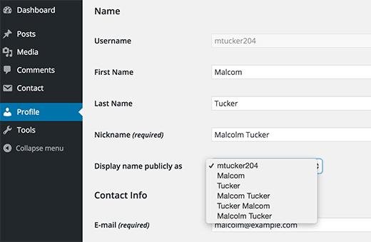 Hướng dẫn thay đổi tên hiển thị của người dùng (user) wordpress