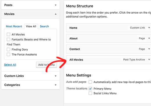 Custom post type archive trong menu wordpress