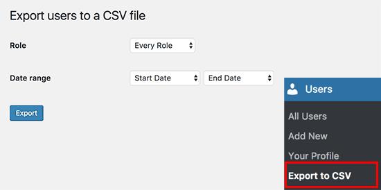 Cách xuất, export thông tin thành viên wordpress ra file CSV