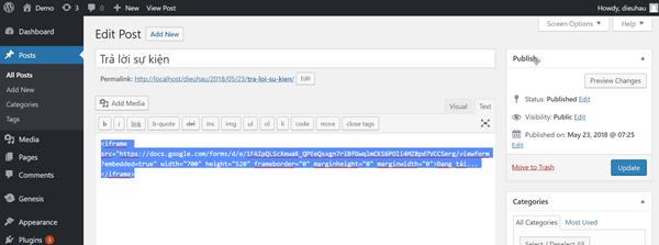 Hướng dẫn chèn Google Forms, Google biểu mẫu vào Wordpress đúng chuẩn