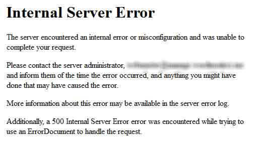 Lỗi wordpress: Internal Server Error