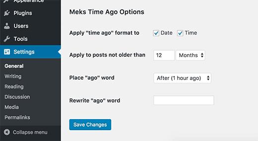 """Thời gian đăng bài """"Vừa xong, vài giờ trước..."""" bằng Meks Time Ago"""