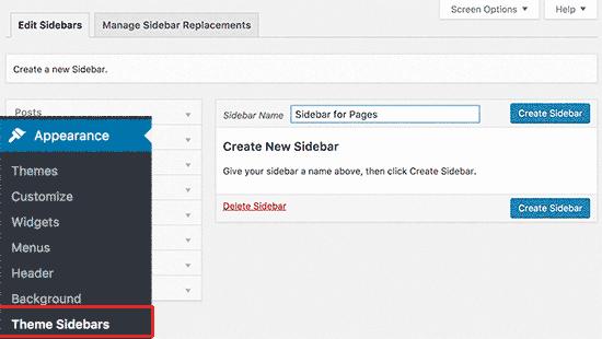 Cách gọi Sidebar khác nhau cho từng Post và Page