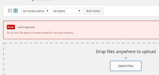 Cấu hình định dạng file upload wordpress