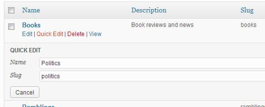 Đổi tên Categories wordpress trong 30s
